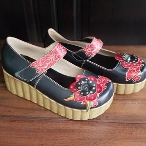 Black and Red Mary Jane Platforms